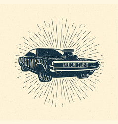 Muscle car vintage styled vector