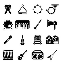 musical instruments icons set simple style vector image