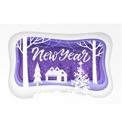 new year - modern paper cut vector image