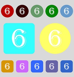 Number six icon sign 12 colored buttons Flat vector