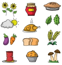 Object thanksgiving set on doodles vector