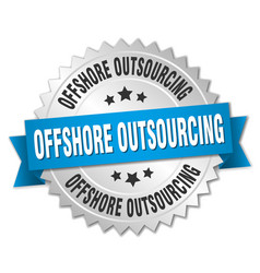 offshore outsourcing round isolated silver badge vector image