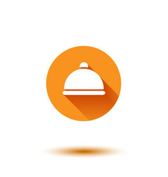 Orange flat long shadow cloche vector