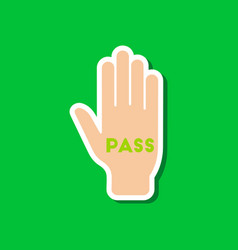 Paper sticker on stylish background hand pass vector
