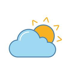 Partly cloudy color icon vector