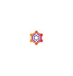 polygon connection technology logo vector image