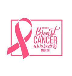 poster with handdrawn lettering breast cancer and vector image