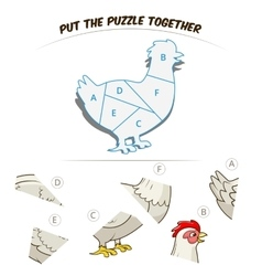 Puzzle game for children hen chicken vector
