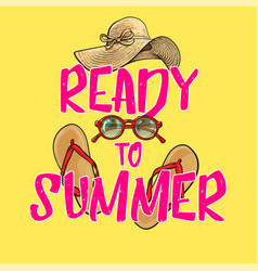 Ready to summer poster banner design with summer vector