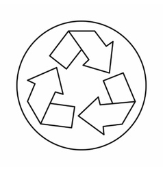 Recycle symbol icon outline style vector image