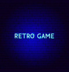 retro game neon text vector image
