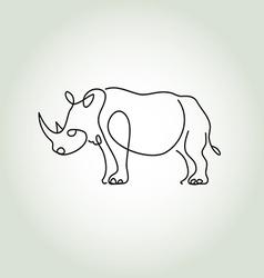 Rhinoceros in minimal line style vector