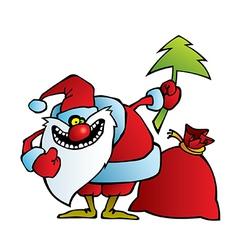 Santa with a crazy smile vector