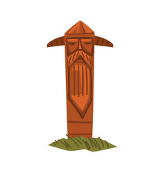 scandinavian totem pole scandinavian mythology vector image
