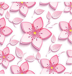 Seamless pattern with pink sakura and leaf vector
