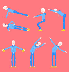 set of elderly man doing sport vector image