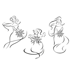 Silhouettes of brides with flowers vector image vector image