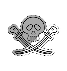 Skull with swords vector