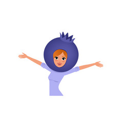 Smiling woman character in blueberry headwear vector