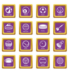 sport balls equipment icons set purple square vector image