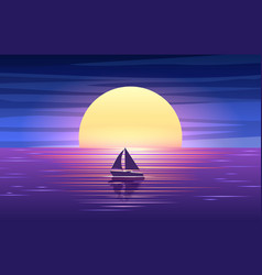 Sunset sea and boat vector