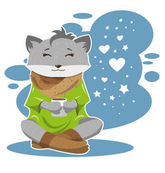 The fox in winter and cold drinks tea or coffee vector