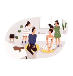 Two creative girl making hairstyle to parents vector