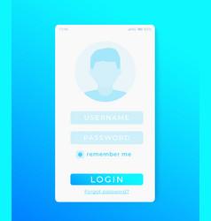 User login page mobile app ui template vector