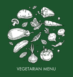 Vegetarian menu vegetable dishes and meals farm or vector