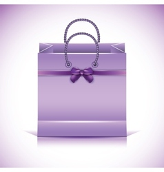 Violet paper shopping bag vector image
