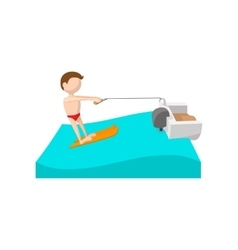 Water skiing cartoon icon vector image