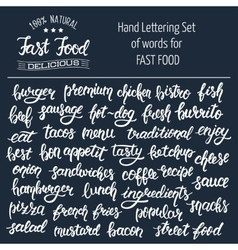 White hand lettering set of words for fast food vector image
