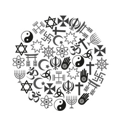 world religions symbols set of icons in circle vector image