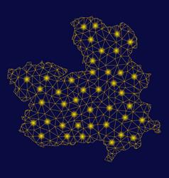 Yellow mesh 2d castile-la mancha province map with vector