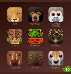 animal faces for app icons-set 10 vector image vector image