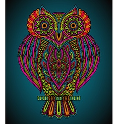 Colorful hand drawn ornate owl in zentangle style vector image vector image