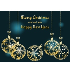 dark cyan Christmas and New Year background vector image vector image