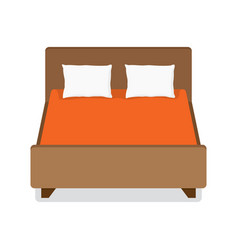 double bed with pillow and blanket vector image vector image