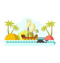 pirates boat with sail in sea colorful vector image