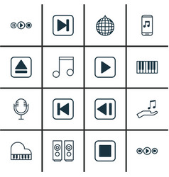 set of 16 audio icons includes piano music vector image vector image