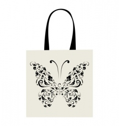 shopping bag design vintage butterfly vector image