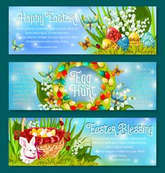 easter egg hunt celebration banner template set vector image vector image