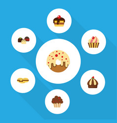 flat cake set of cupcake cake doughnut and other vector image