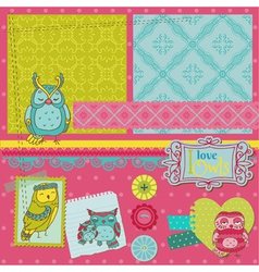 Scrapbook Design Elements - Little Owls vector image