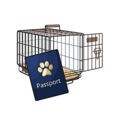 Travel with cats dogs - metal wire carrier and vector