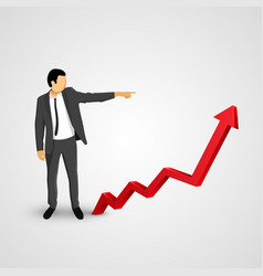 businessman points to the growing chart vector image vector image