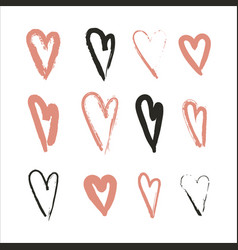 hand drawn set of hearts design elements fot vector image vector image