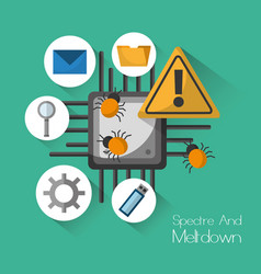 spectre and meltdown warning security virus vector image