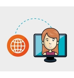 avatar woman and computer monitor vector image vector image