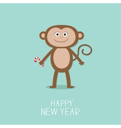 Cute monkey with candy cane New Year 2016 Baby vector image vector image